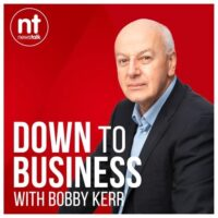 Bobby Kerr talks to Junior Einsteins owner Tracey Jane Cassidy and franchisee James Murtagh